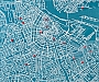 Pin City Wall Map - Amsterdam Blue 100 x 80 cm | Palomar