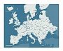 Europakaart Wall Map Diary Europe Pin World (Blauw) 96 x 77 cm | Palomar