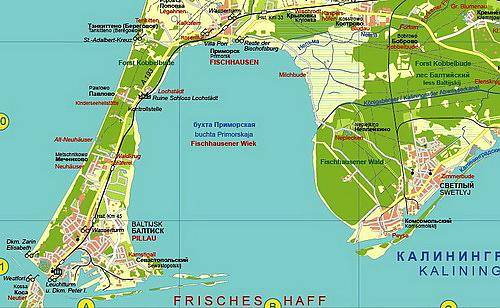 Kurische Nehrung Karte.Wegenkaart Landkaart Nord Ostpreußens Samland Mit Karte Der Kurischen Nehrung Blochplan