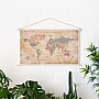 Wereldkaart Katoenen Cotton map Old School Formaat 90x60cm | Woody